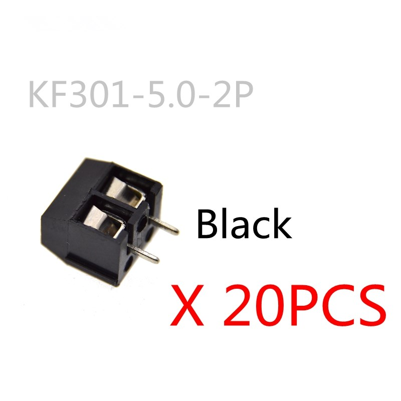 20PCS/LOT KF301-2P KF301-5.0-2P KF301 Screw 2Pin 5.0mm Straight Pin PCB Screw Block black