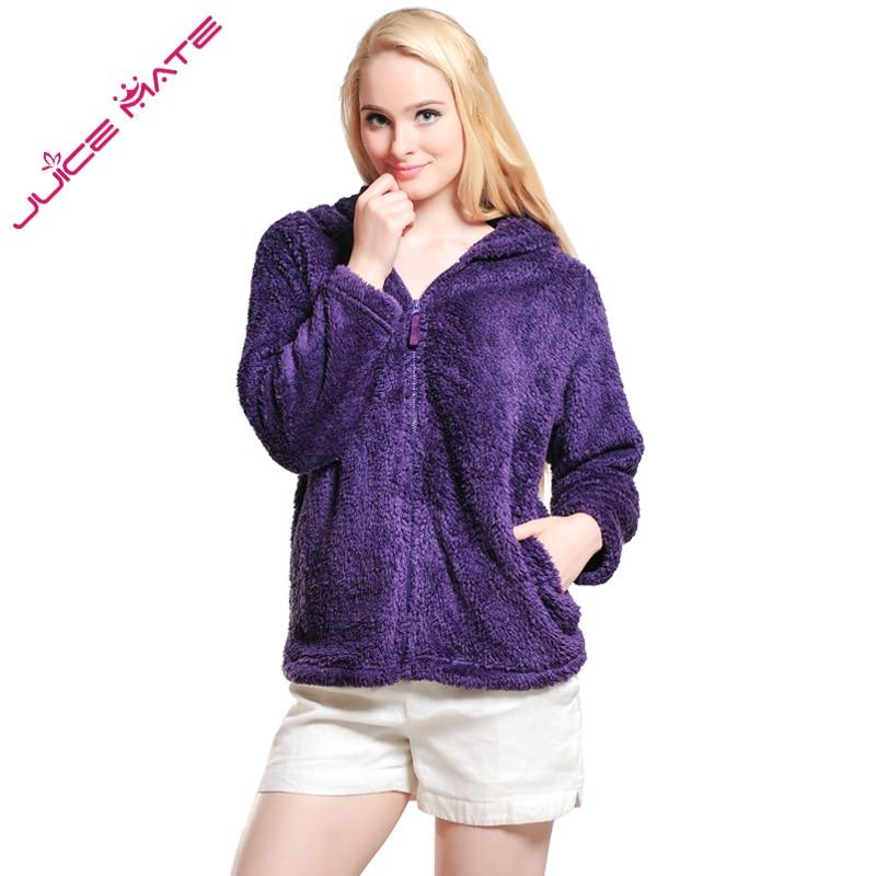 Dámské Dívky Plus Velikost Snuggle Fleece halenka Zip Fluffy Teplá mikina s kapucí Mikina dámská Loose Mikina s kapucí