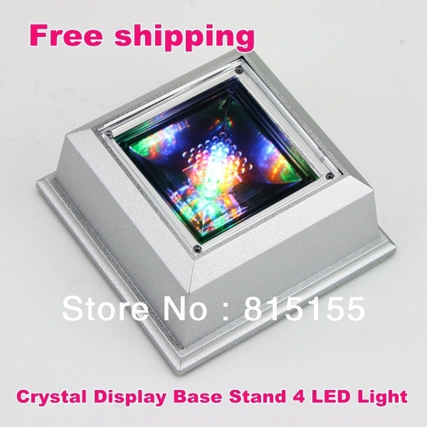 Free shpping , Elegant Unique Square Rotating Crystal Jewelry Display Base Stand Holder 4 LED Light