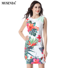 Musenda Для женщин Цветок Туника без рукавов белое платье элегантный носить на работу Бизнес Офисные наряды Лето 2017 г. женские короткие свадебные платья