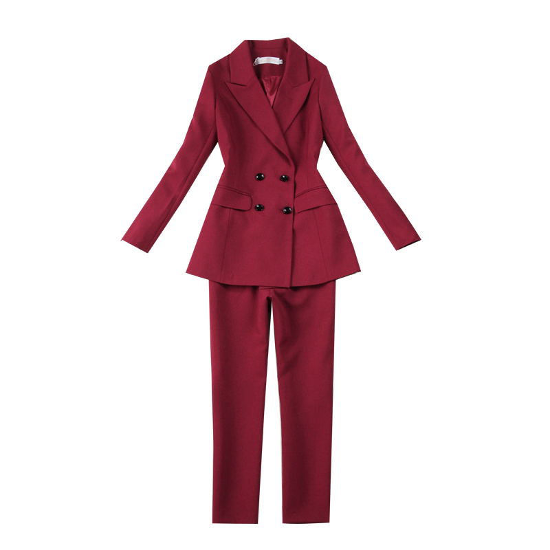 New Blazers Suit Solid Simple Women Pants Suits 2 Two Piece Sets Long Slim Jacket & Pants Female High Quality Business
