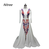 2018 Long Sleeves A Line Muslim Formal Appliques Evening Dresses Moroccan Kaftan Women V Neck Pearls Custom Made Prom Gowns