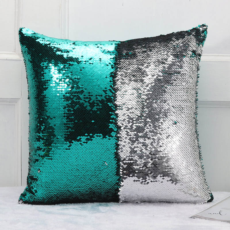Meijuner DIY Mermaid Sequin Cushion Cover Magical Throw Pillowcase 40X40cm Color Changing Reversible Pillow Case For Home Decor creative gradient color skull pattern square shape flax pillowcase without pillow inner