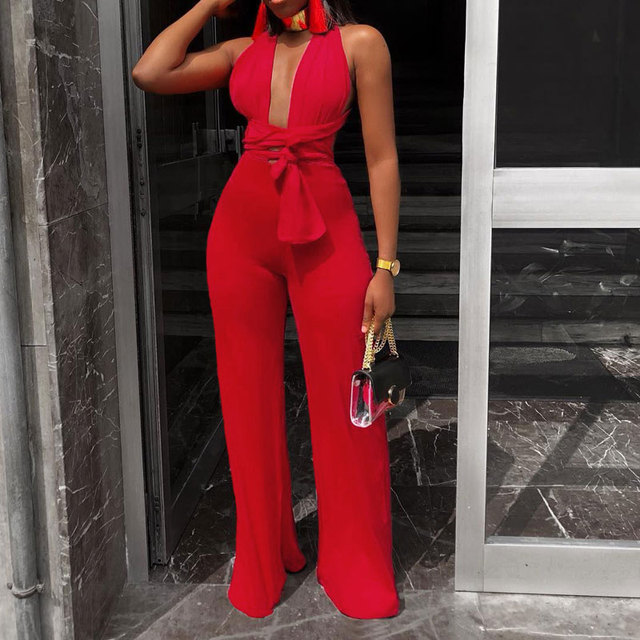 New Arrival Fashion Women Clothing Sexy V Neck Multi-way Jumpsuits Female Lace Up Bandage Sleeveless Wide Leg Autumn Playsuits