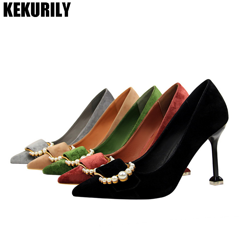 Shoes Woman Flock Pointed Toe Pumps Buckle High Heels Sandals Pearl Shallow Slip on Slides Shoes Black Red Green Khaki GrayShoes Woman Flock Pointed Toe Pumps Buckle High Heels Sandals Pearl Shallow Slip on Slides Shoes Black Red Green Khaki Gray