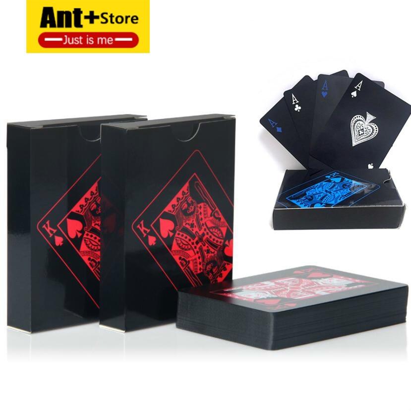 Quality Waterproof PVC Plastic Playing Cards Gold Set Trend 54pcs Deck Poker Classic Magic Tool Pure Black Magic Box-packed