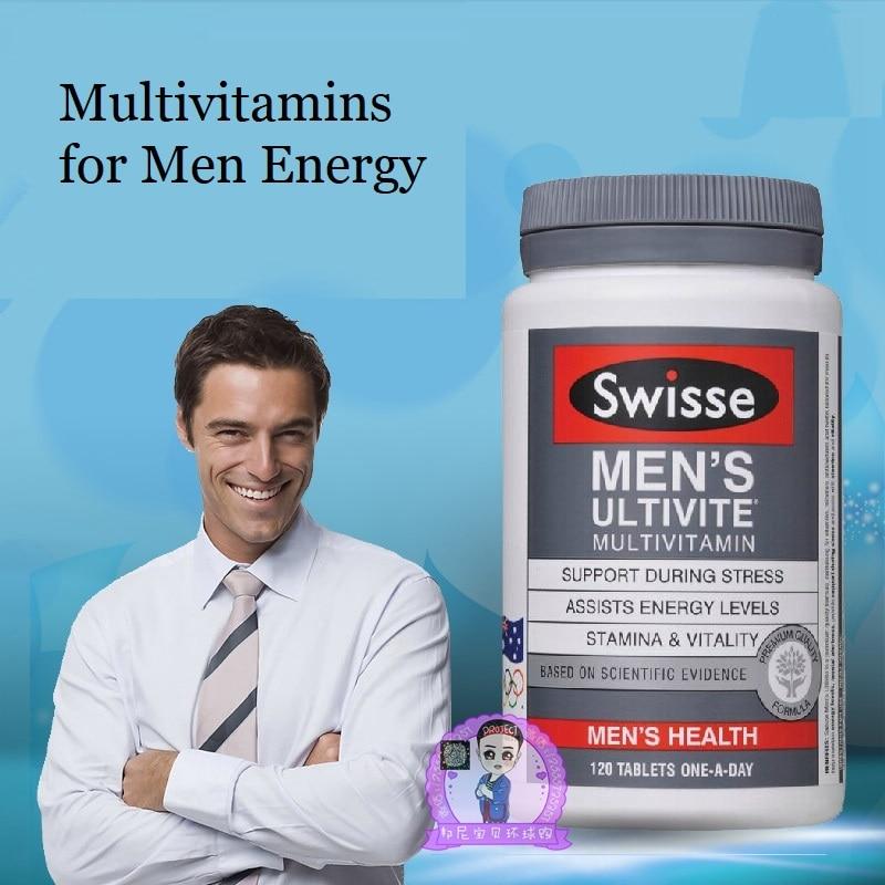 Australia Swisse Men's Multivitamins 120TABLETS Maintain Activity Energy Levels Mental Alertness Stamina Vitality During Stress
