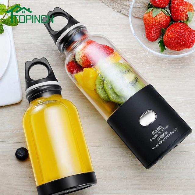 TOPINCN 500 ml Portátil Copo Espremedor Liquidificador Suco USB Multi-função de Misturador de Frutas Seis Lâmina de Mistura Smoothies Máquina Bebê alimentos