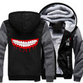 New Winter Jackets and Coats Tokyo ghoul hoodie Anime Luminous Hooded Thick Zipper Men Sweatshirts