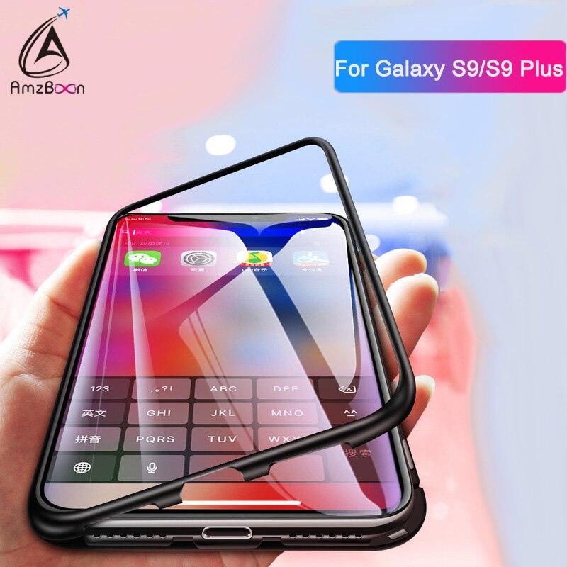 AmzBoon Magneto Magnetische Adsorption metall fall Für Samsung Galaxy S9 S8 Plus fall luxus gehärtetem glas abdeckung fall Für Hinweis 8