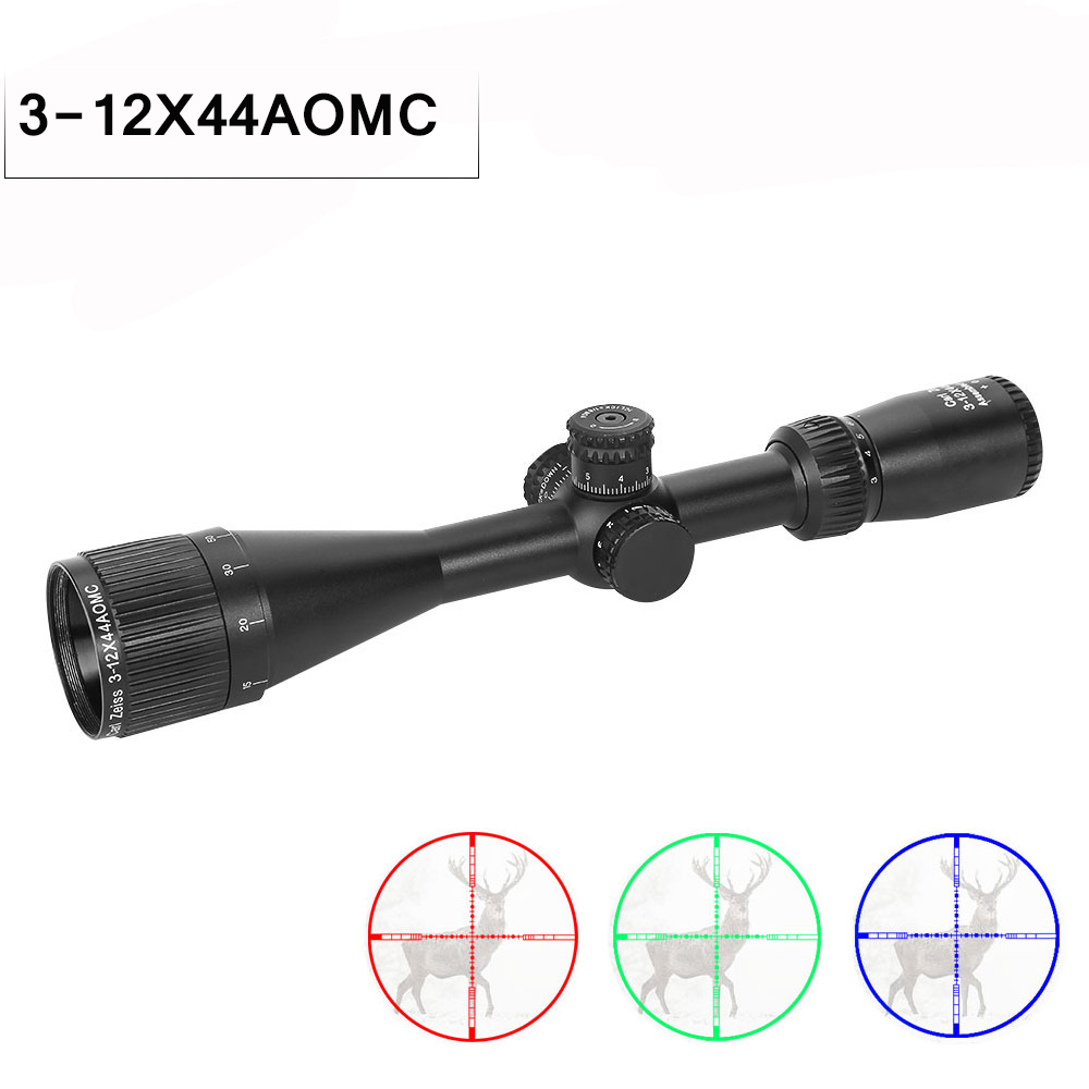 3-12x44 AOMC Optic Sight Hunting Scope Adjustable Green Red Dot Riflescope Telescope Tactical Scope Reticle Optical Rifle Scope3-12x44 AOMC Optic Sight Hunting Scope Adjustable Green Red Dot Riflescope Telescope Tactical Scope Reticle Optical Rifle Scope