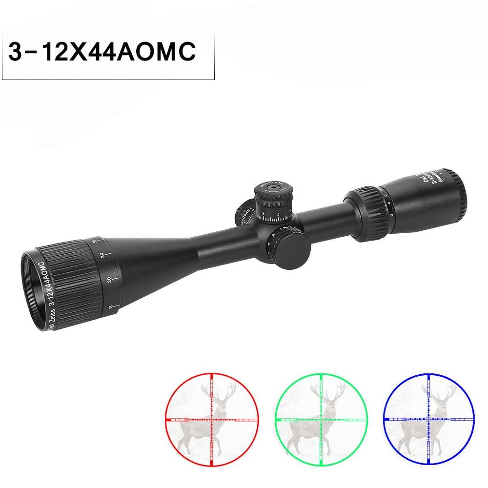 3-12x44 AOMC portée de chasse à vue optique réglable vert rouge point lunette de visée télescope portée tactique réticule portée de fusil optique