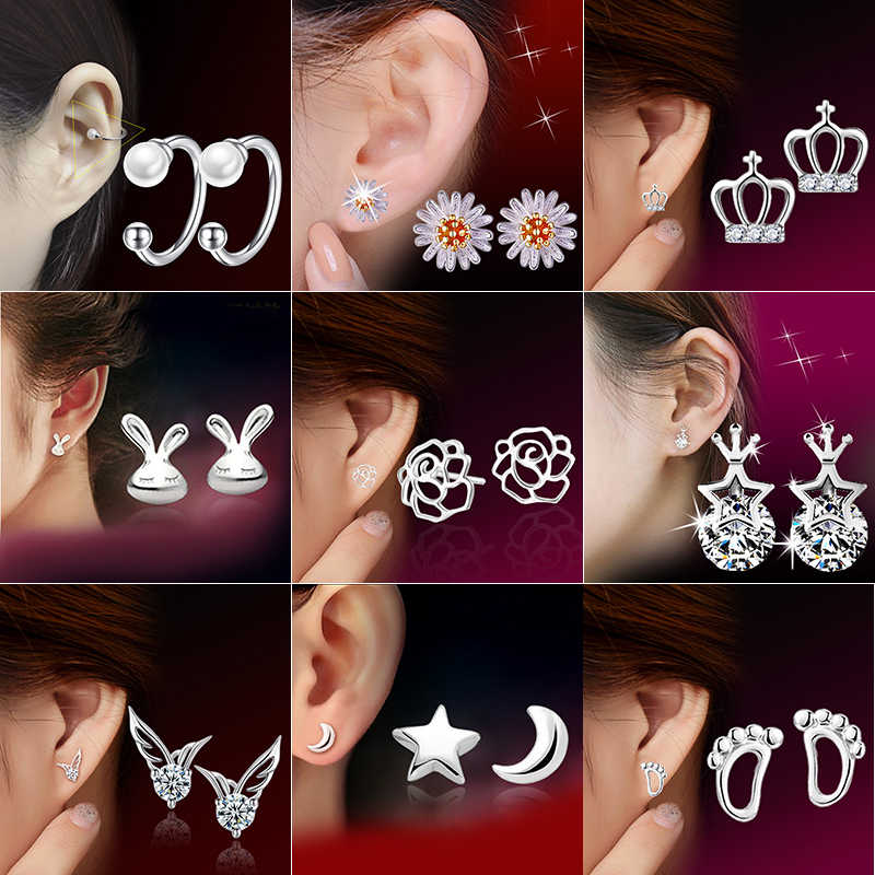 925 Sterling Silver Splicing Cute Animal Stud Earrings For Women Casual Style Girl Earings Personality Sterling-silver-jewelry
