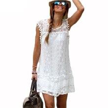 S-5XL Plus Size Women Lace Dress Womens Girl Lace Dresses Ukraine Robe Femme Sexy White Dress With Mesh Beach Tunic Sarafan top