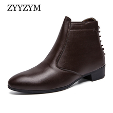 ZYYZYM Men Boots Leather Spring Autumn Zipper Ankle Brithsh for Plus Size EUR 39-47 Zapatos De Hombre
