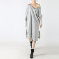 Women Autumn Winter Dress Fashion Lace Sleeve Loose Casual V Neck Dress 2017 Grey Long Women