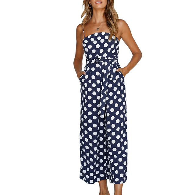 d2e32e0214 2018 Polka Dots Womens Summer Wide Leg Holiday Jumpsuits Romers Sexy  Spaghetti Strap Ladies Bandagd Playsuits Oversuits