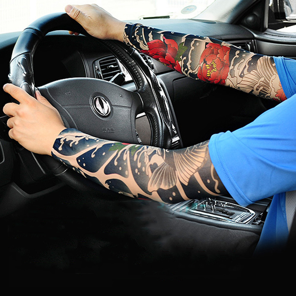 Trend Sports Hand Sleeves Nylon Elastic Temporary Realistic Tattoo Sleeve Design Tight Tattoo Sunscreen Arm Warmers Cool XB40
