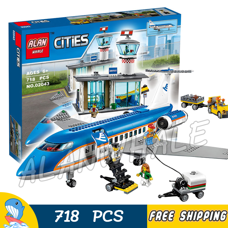 718pcs City Airport Passenger Terminal Plane Control Tower 02043 Model Building Blocks Assemble Toys Bricks Compatible With lego city airport vip private plane blocks bricks building technic christmas toys for children compatible with legoeinglys lepin 8911