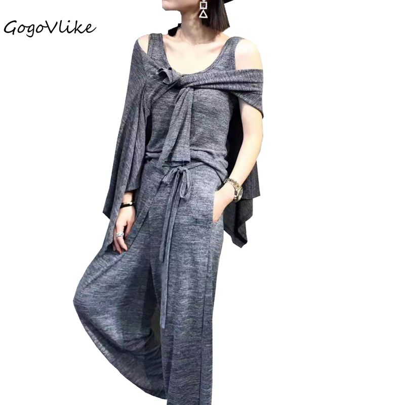 GogoVlike pants piece set Spring elegant knitted