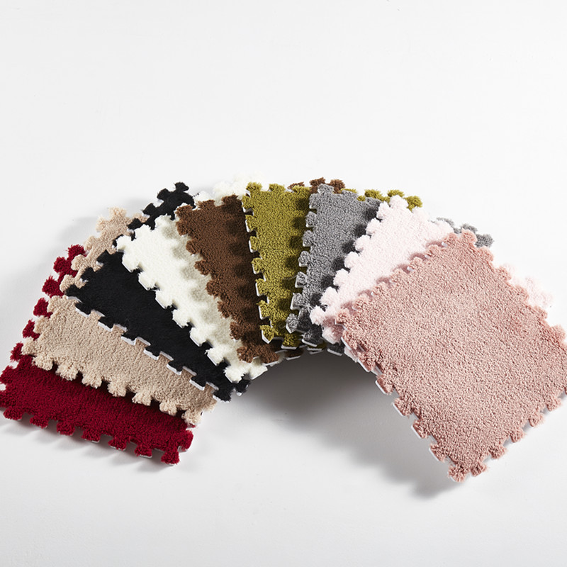 10Pcs 1Set 30 30 1cm EVA Plush Puzzle play mats Foam Shaggy Velvet Carpet Decorative Kids