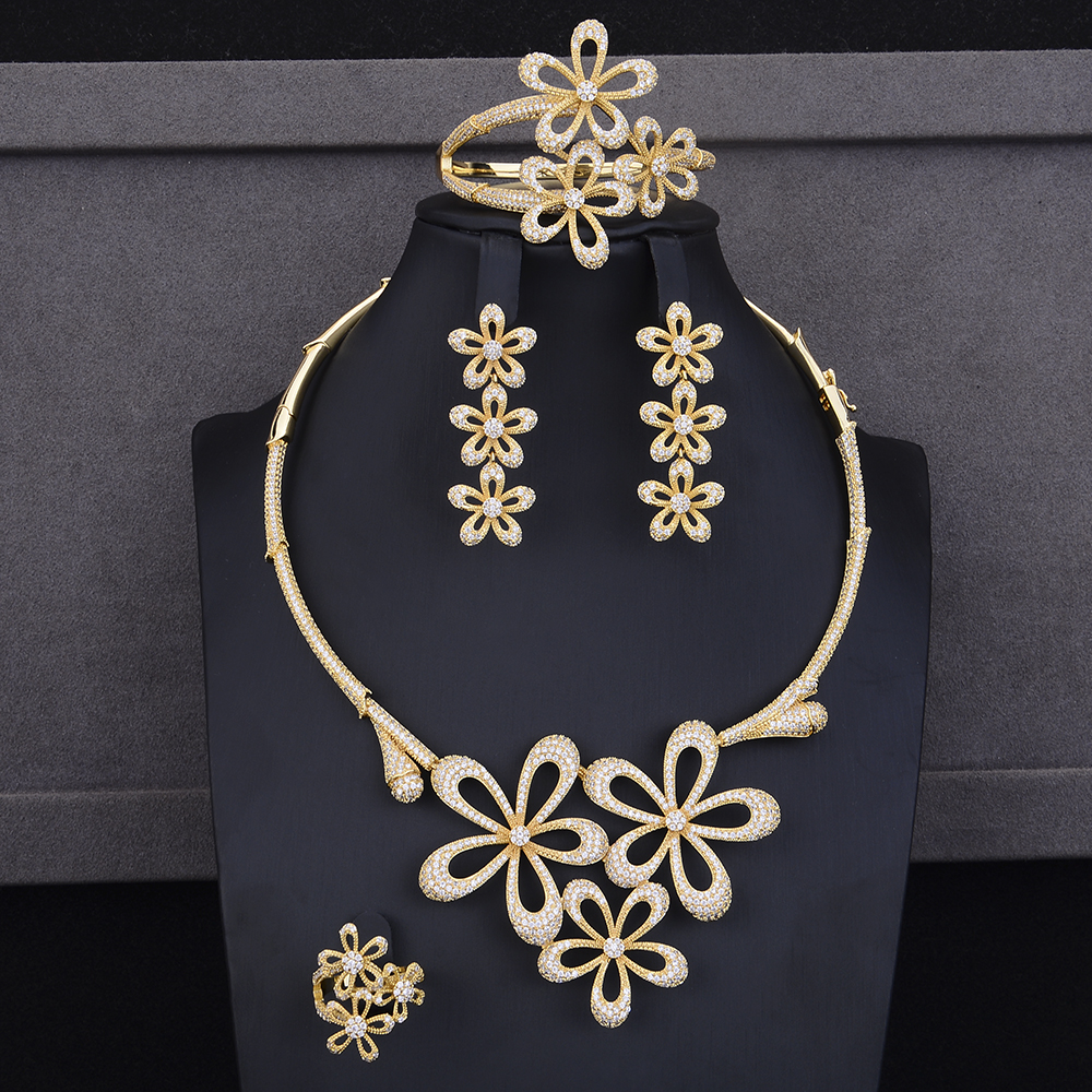 missvikki Gold Fashion Nigerian African Indian Bridal Jewelry Set Full Mini Cubic Zirconia Flowers Bangle Earrings Necklace Ring