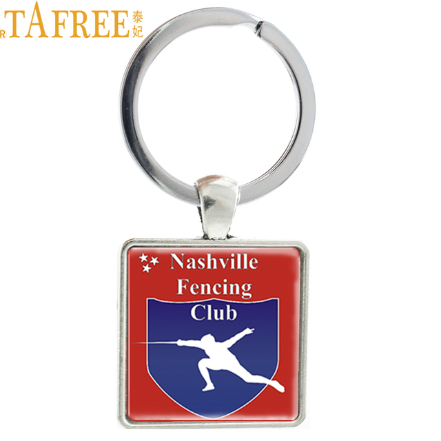 TAFREE  novelty fashion casual Fencing sports keychain nashville fencing club Square keyring  vintage handmade jewelry NW111