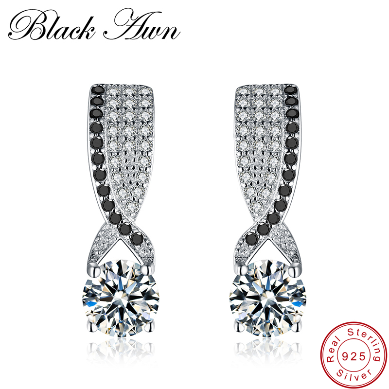 [BLACK AWN] Genuine 925 Sterling Silver Black Spinel Stone Engagement Stud Earrings For Women Sterling Silver Jewelry T121