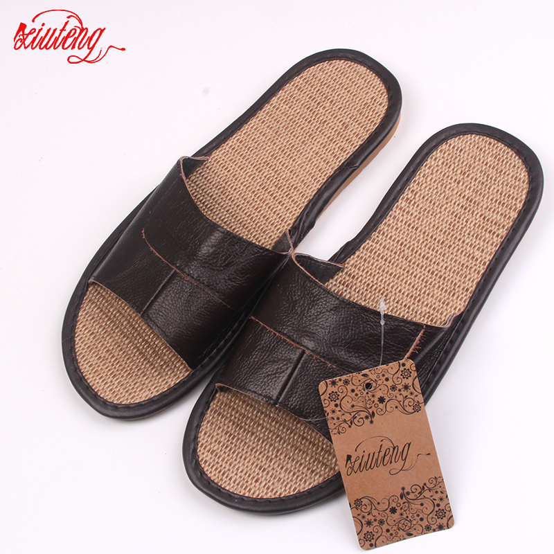 New 2018 Famous Brand Casual Men Sandals Summer Leather Linen - Men's Shoes - Photo 3
