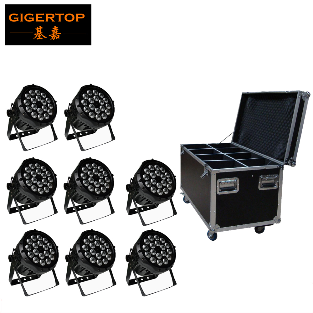 8IN1 Flight Case Packing Outdoor Projector 18PCS 10W RGBW LED Waterproof PAR Light  DMX 4/8CH Party Stage IP65 Garden 90V-240V 65 95 55mm waterproof case