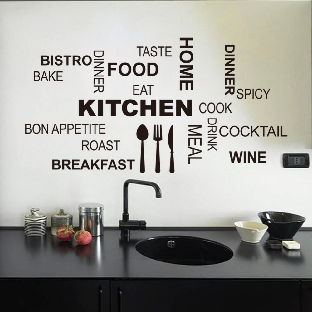 Creative Quotes Patterns Knife fork spoon COOK BON APPETITE WINE for Kitchen room wall stickers cute vinyl Home Decoration