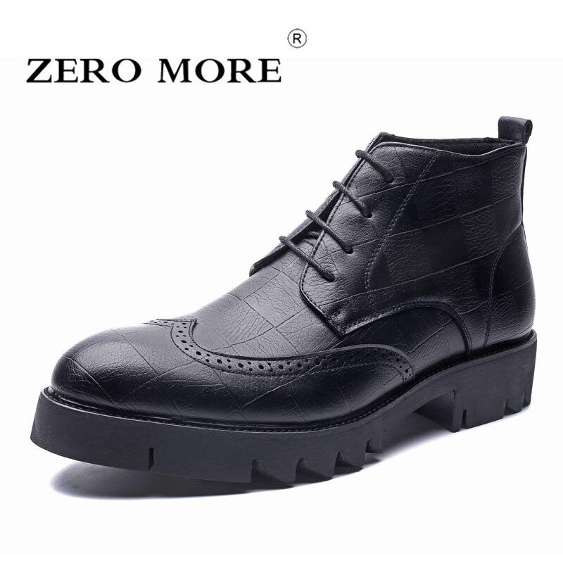 Pé marrom Homens Dedo Up Botas Sapatos Redondo Preto Sola Zero Boots Moda Brogues Sólidos Mais Ankle Plataforma Grossa Do De Lace Dos Quadrados wBCTC4tqxZ