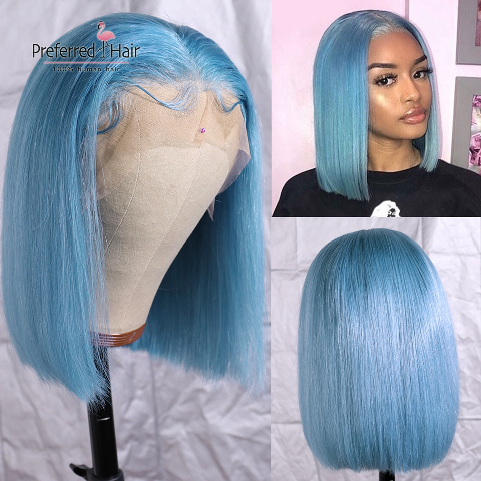 Preferred Light Blue Human Hair Wig Brazilian Remy Hair 613 Lace Front Wig Pre Plucked Purple Short Bob Wigs For Black Women