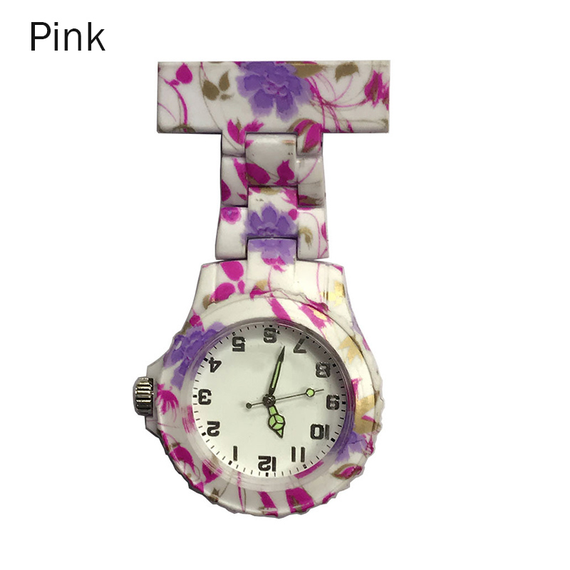 Newly  Colorful Silicone Round Dial Quartz Pocket Nurse Watch Quartz Brooch Doctor Nurse Hanging Watches M99