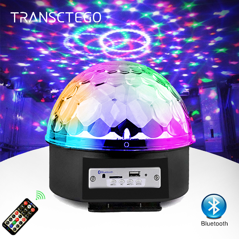 6 Color Bluetooth Disco Light Mp3 Player Speaker Led RGB Stage Light Rotating Lumiere Sound Activated DJ Magic Ball Party Lamp