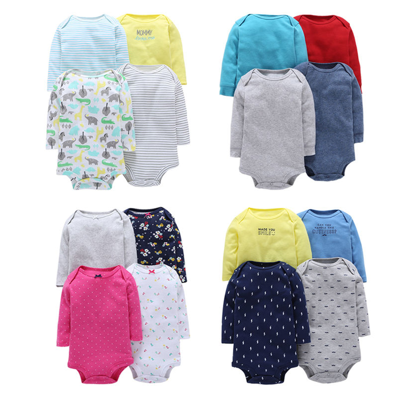 Baby Clothes Long Sleeve Baby Rompers Infant Clothing Newborn Clothes 4pcs/set Roupa Infantil Girl Baby Clothing Boys Coveralls