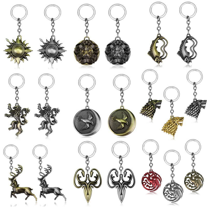 HBO 8 styles Game of Thrones family logo badge Metal Keychain ...