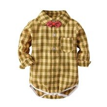 Gentleman Baby Boy Clothing Plaid Infant Shirt Blouse Newborn Wedding Wear Rompers Long Sleeve Overalls Body Jumpsuit