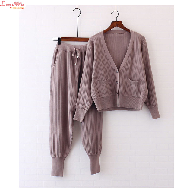 Deep-V Slim Knitshirt Cardigans Elastic Waist Harem Long Pants Women Autumn Cool Suits Sweater Set