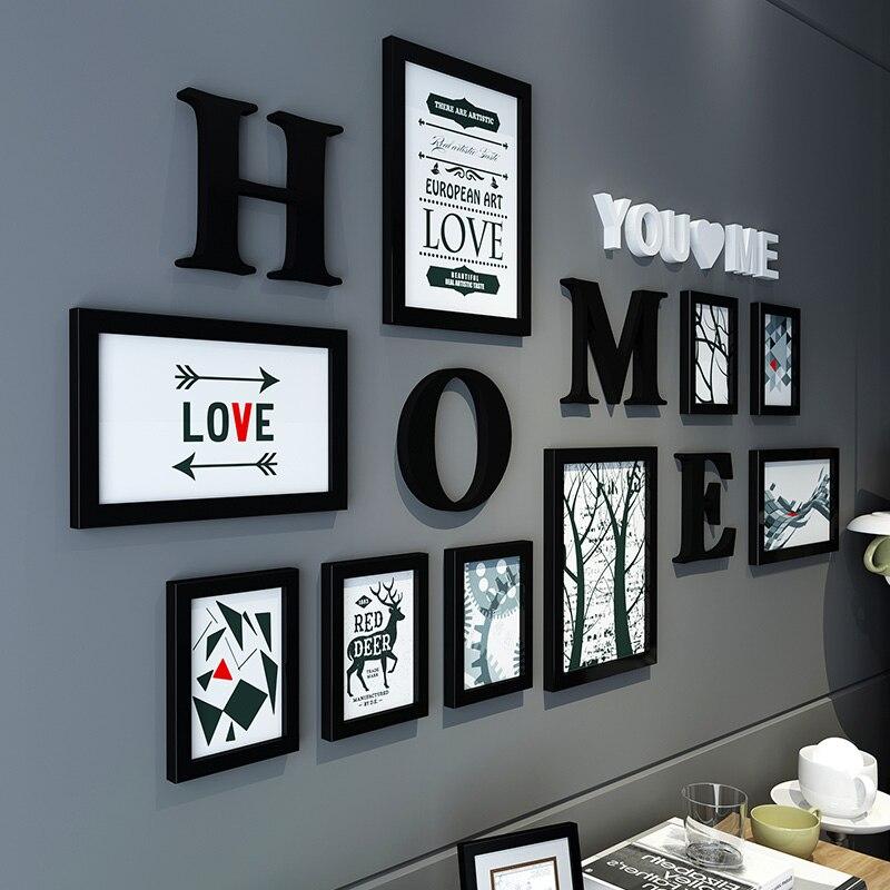 Offre spéciale bricolage suspendus Album Photo pour mariage amour Photo combinaison mur Photo cadre ensemble décor à la maison en bois cadres Photo ensemble