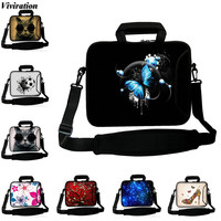 Viviration New Arrival Beautiful Blue Butterfly Pattern Messenger Shoulder Strap Computer Bag 17 15 14 13
