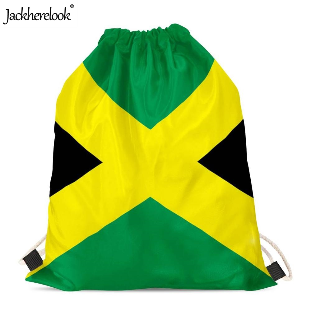 Jackherelook 2019 New Woman Man Jamaica Flag Printed Drawstring Bags Small Multifunction Storage Sack Bags Students Backpacks