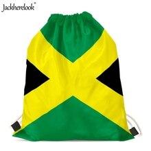 Jackherelook 2019 New Woman Man Jamaica Flag Printed Drawstring Bags Small Multifunction Storage Sack Bags Students Backpacks