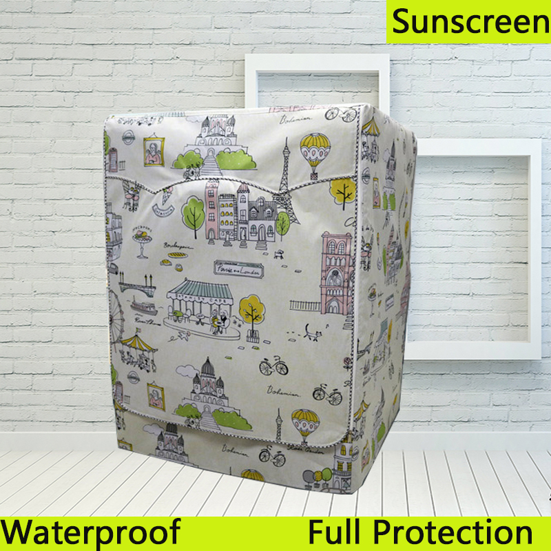 Cartoon Coated Silver Waterproof Washing Machine Dryer Cover Sunscreen Passprot Cover cubierta lavadora copri lavatrice