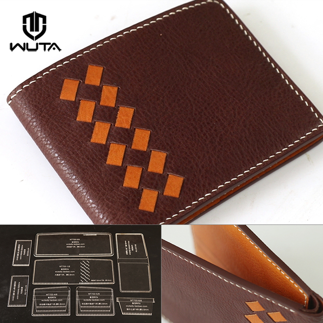 wuta clear acrylic leather template leathercraft pattern set unisex model for making bv woven wallet diy