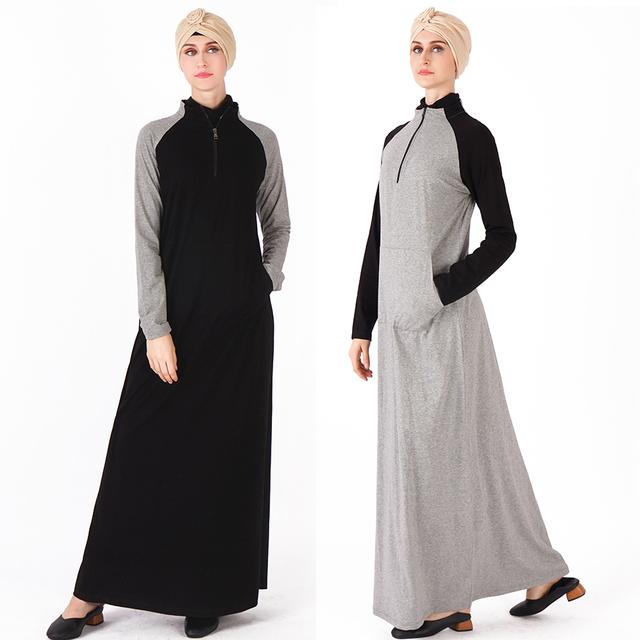 Cotton Abaya, Sport Long Dress, Turkey Fashion  Black Gray