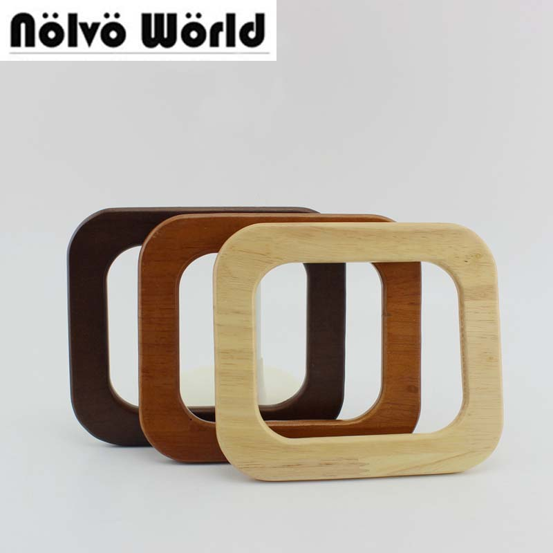 5 Pair=10 Pieces,15X13cm Solid Tree Wood Big DIY Bags Handbags Handle,Oak Tree Wood Purse Square Handle Replacement
