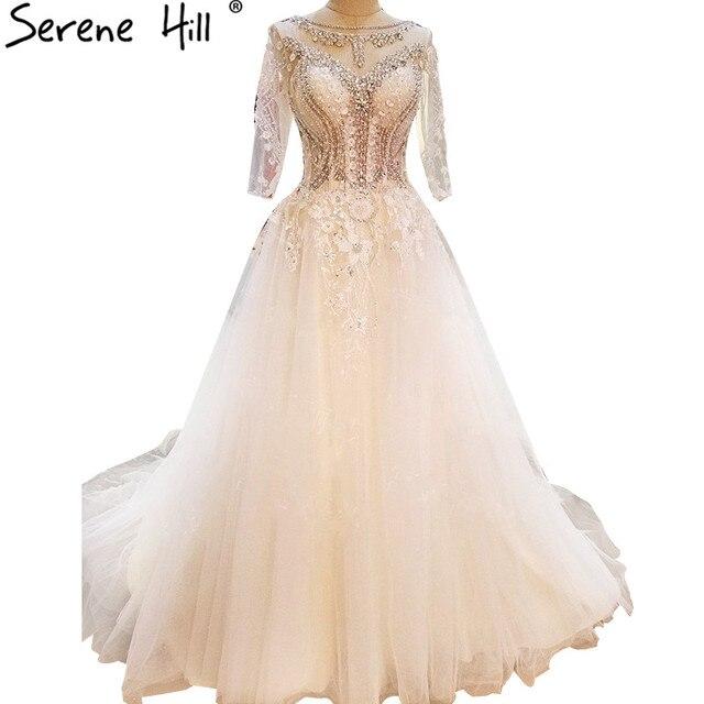 Luxury Long Sleeves Diamond Pearls Tulle Wedding Dresses White Sexy A-Line Bridal  Dress Vestido De Noiva 2018 Real Picture b10b2b8b9efe