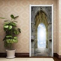 3D God Door Sticker Sky Religious DIY Mural Bedroom Heaven Gate Home Decor Wall Stickers Stone Poster PVC Waterproof Wall Mural