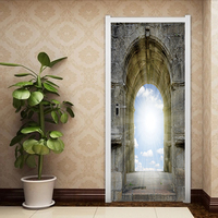 3D God Door Sticker Sky Religious DIY Mural Bedroom Heaven Gate Home Decor Wall Stickers Stone Poster PVC Waterproof Wall Mural